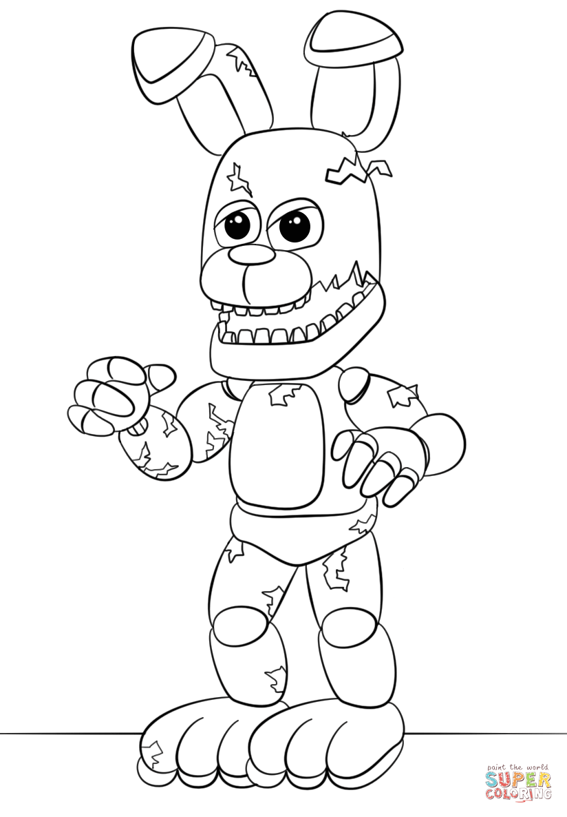 FNaF Springtrap coloring page | Free Printable Coloring Pages