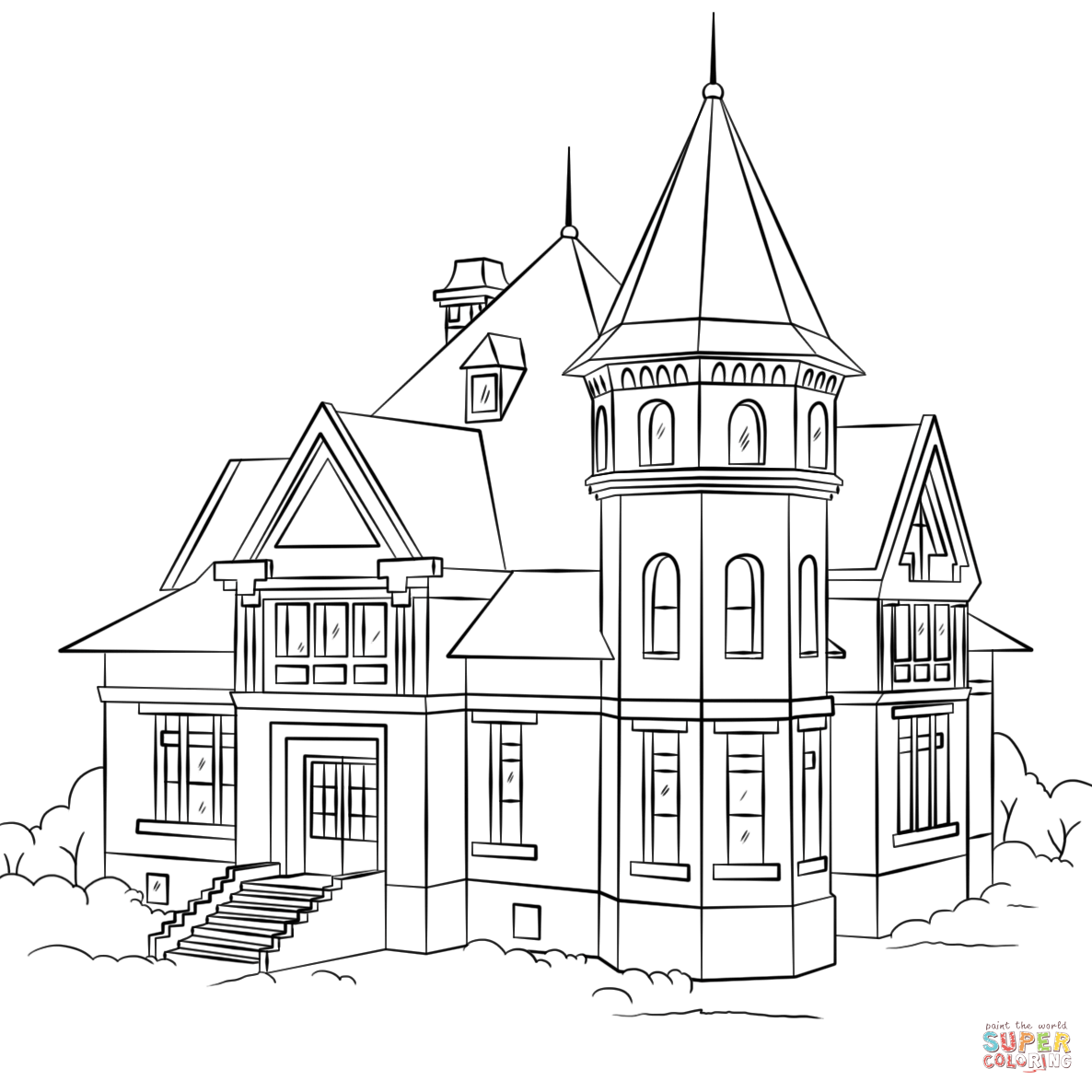 Victorian House coloring page | Free Printable Coloring Pages