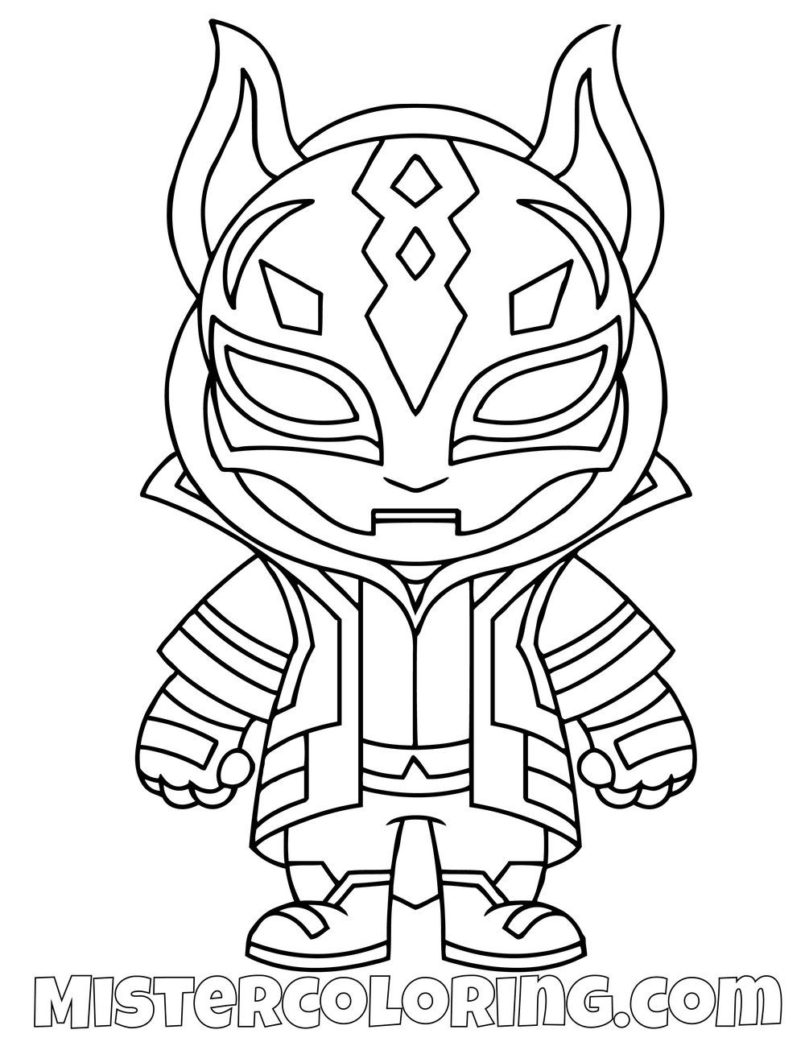 Coloring Pages : Free Drift Skin Chibi Fortnite Coloring ...