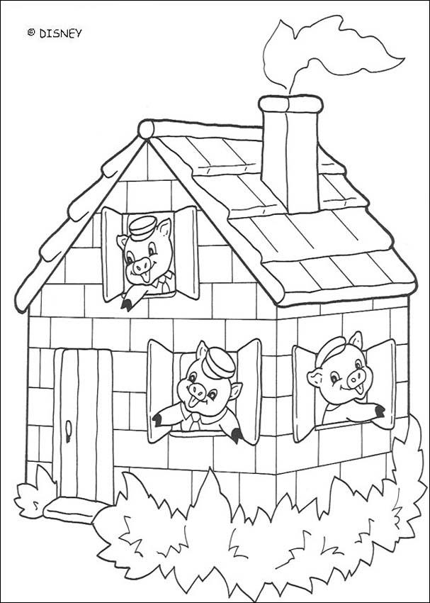 Three little Pigs coloring pages - A Beautiful Brick House