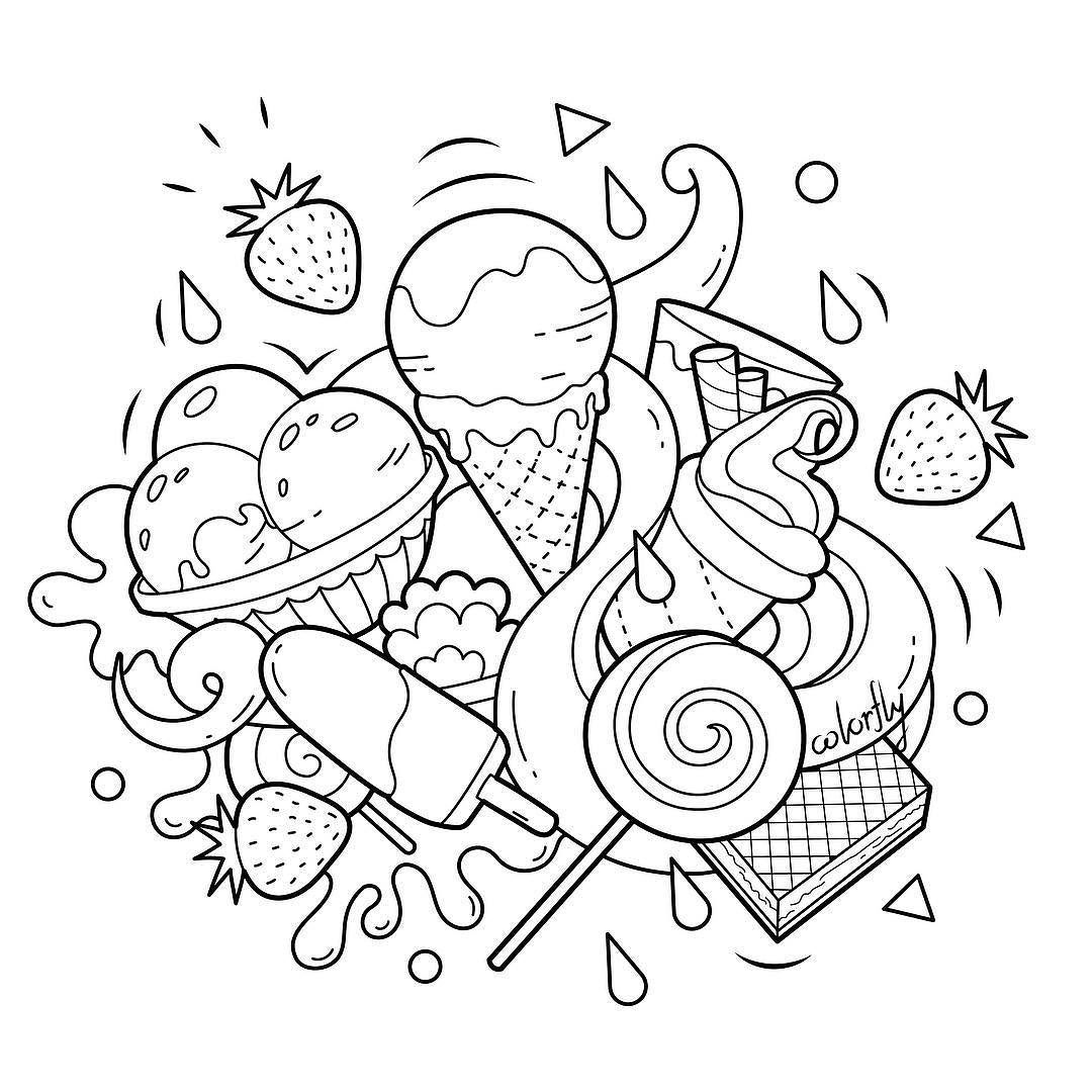 ColorFly #Freebie Its time for some sweet treat! Enjoy the #icecream and  #waffle by coloring them up! You … | Cute doodle art, Cute coloring pages, Coloring  pages