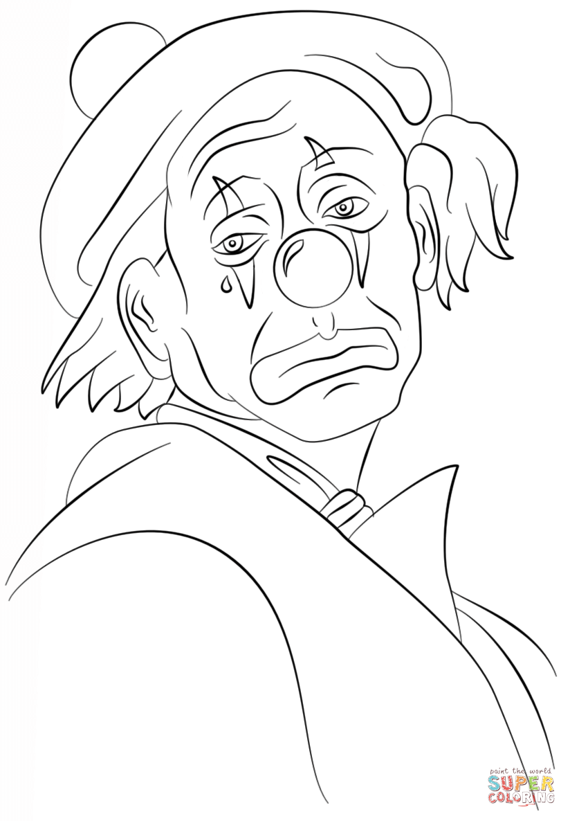 Creepy clown coloring pages coloring home for Disegno pagliaccio da colorare