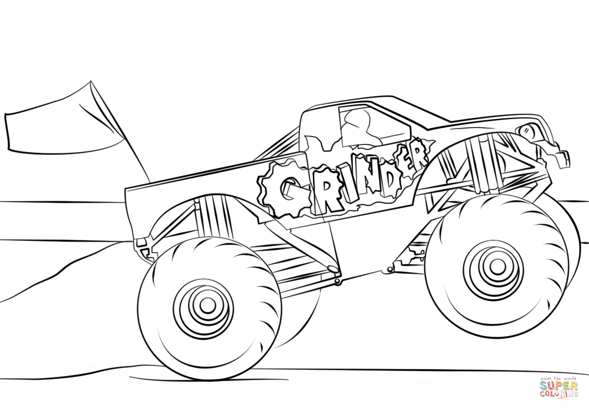 Grinder Monster Truck Coloring Page