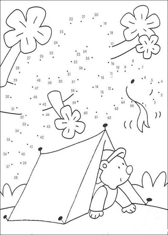 Camping dot to dot coloring pages