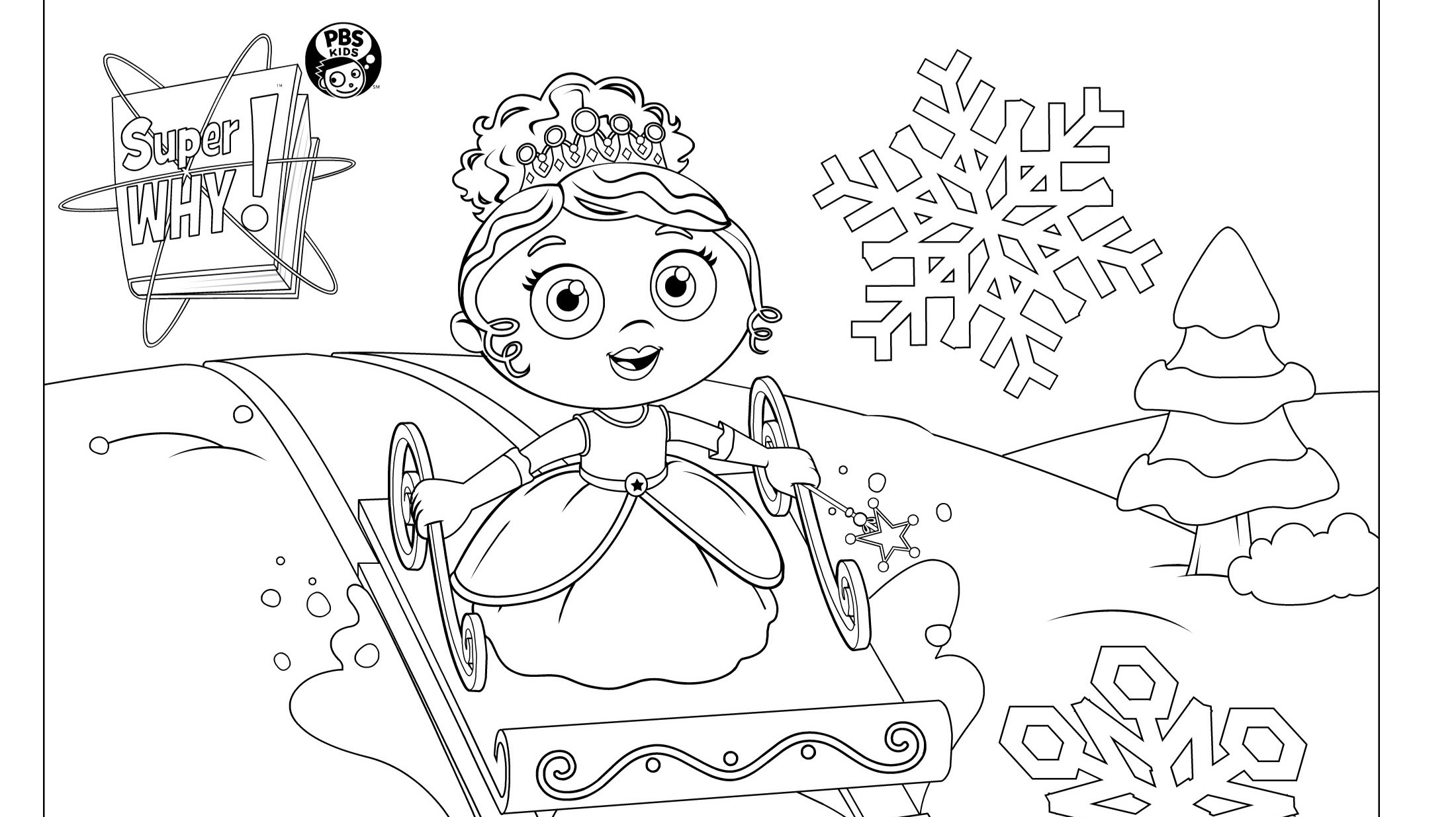 Princess Presto Sledding | Kids Coloring Pages | PBS KIDS for Parents