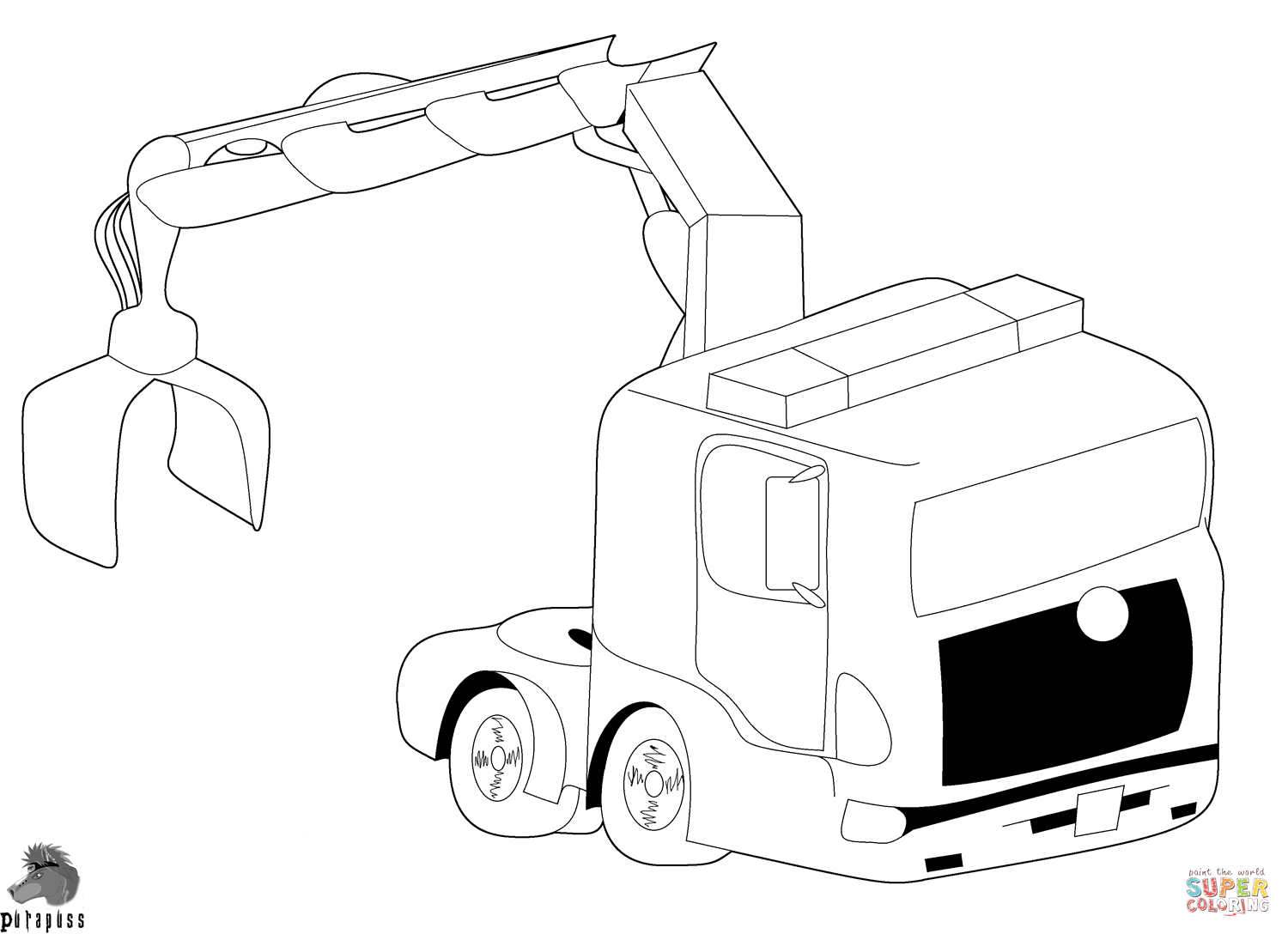 truck with crane coloring page free printable coloring pages