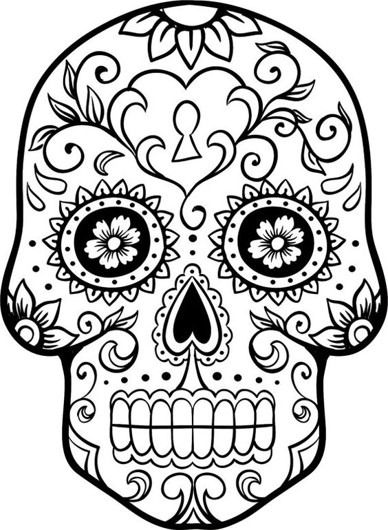 Sugar skull coloring page coloring home for Day of the dead skull mask template