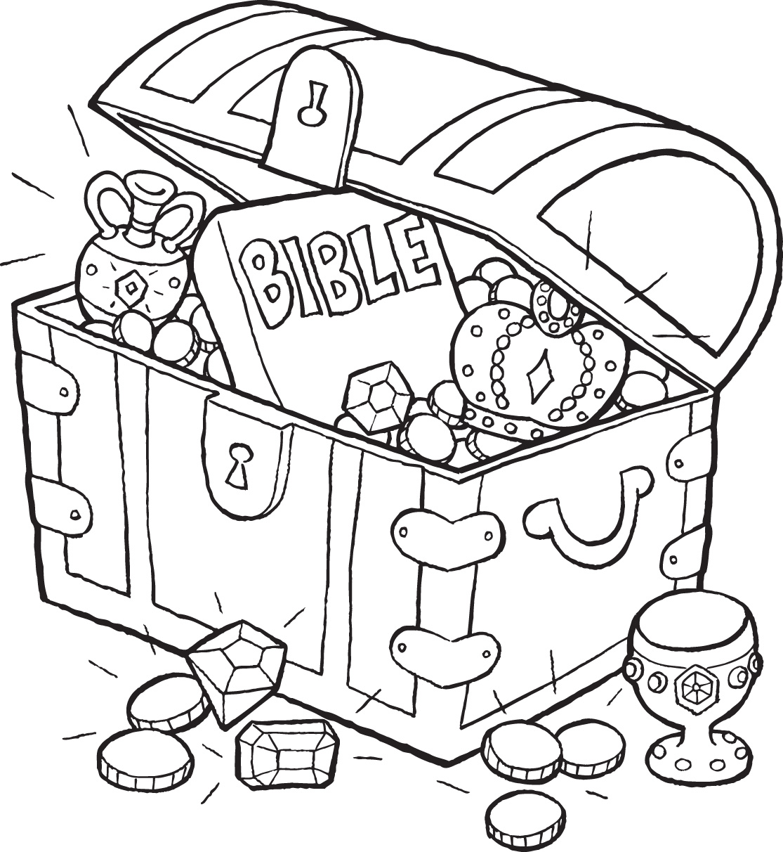 sunken treasure chest coloring page download