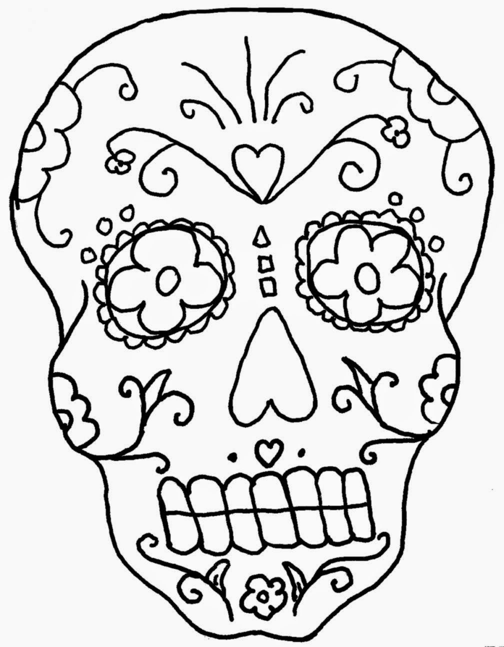 Day Of The Dead Skull Coloring Pages Printable - Coloring Home