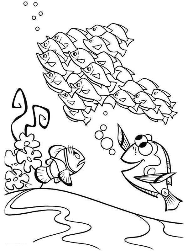 Dory And Marlin Meet A Bunch Of Fish In Finding Nemo Coloring Page