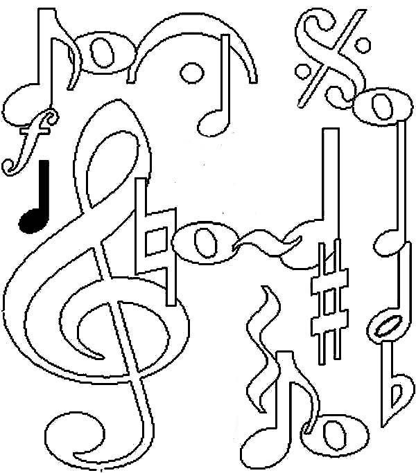 - Music Notes Coloring Pages - Coloring Home