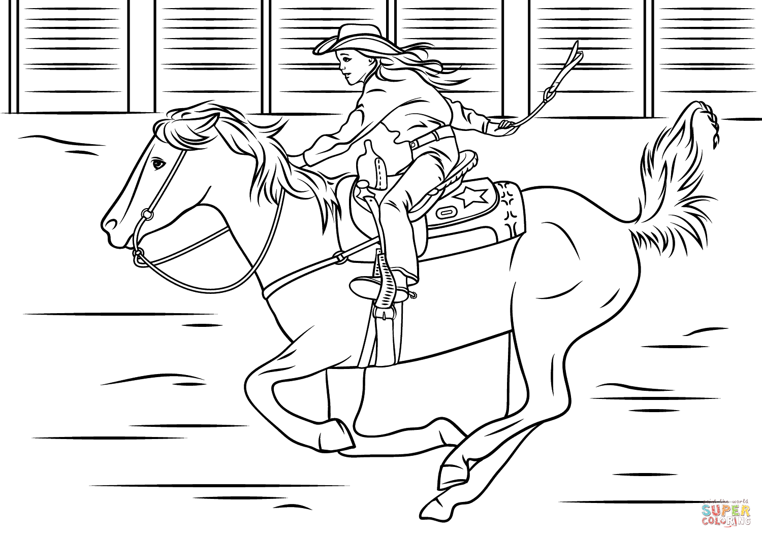 photograph about Free Printable Horse Coloring Pages identified as Cowgirl Using Horse Coloring Website page Absolutely free Printable Coloring