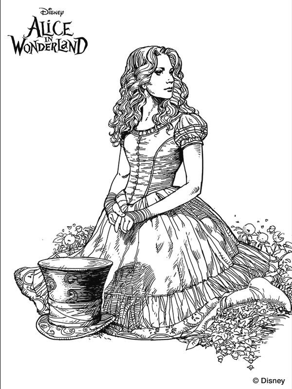 Trippy Alice In Wonderland Coloring