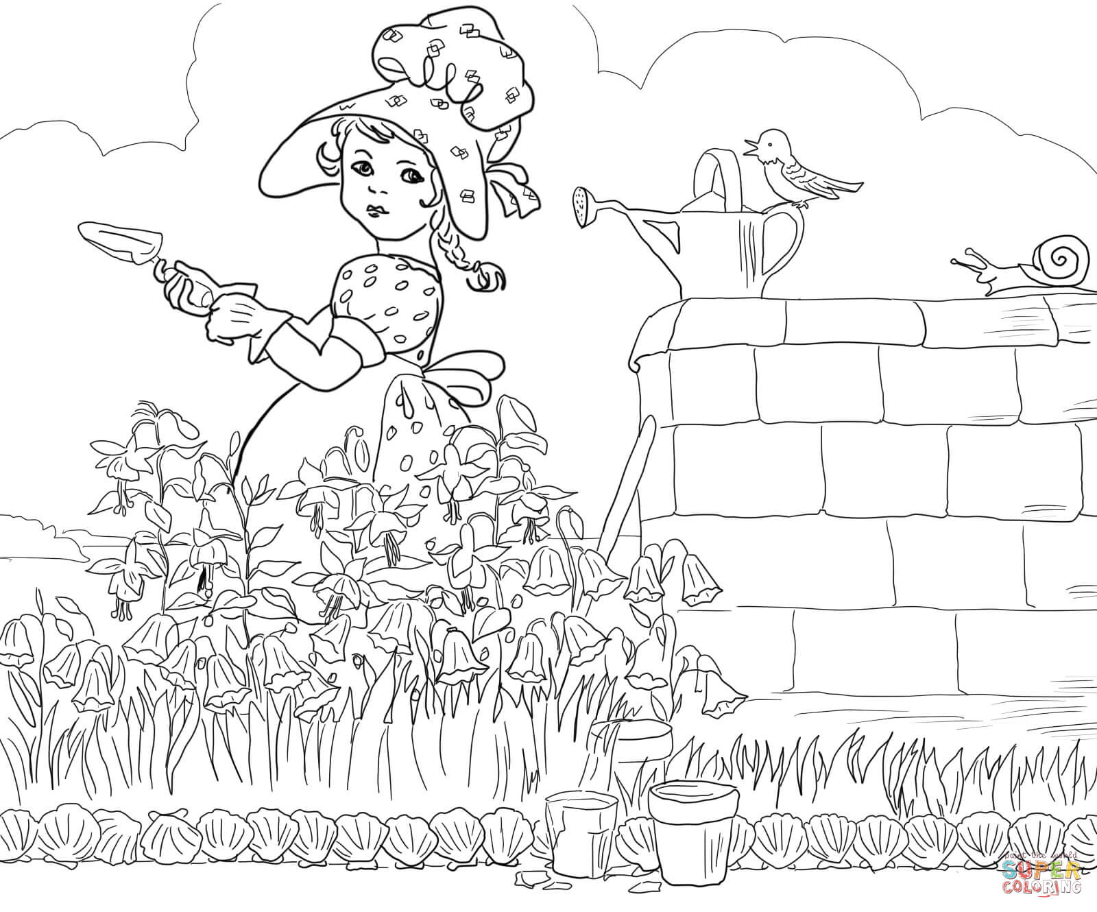 Rain Rain Go Away Coloring Page: Mary Mary Quite Contrary Coloring Page