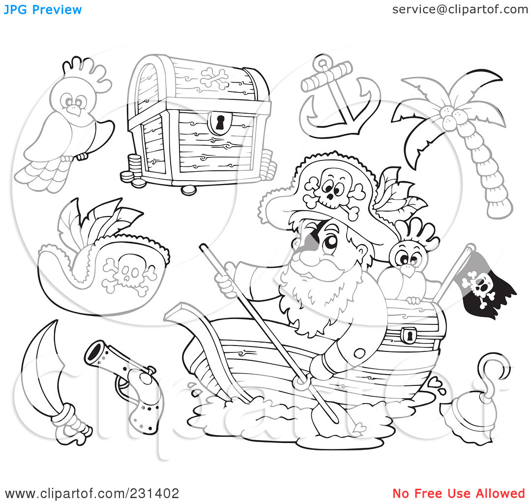 Pirate treasure coloring pages - photo#37