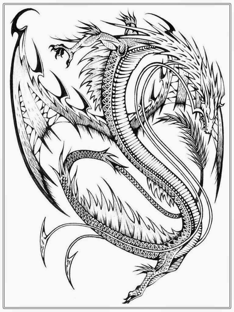 Realistic Dragon Coloring Pages For Adults - Coloring Home