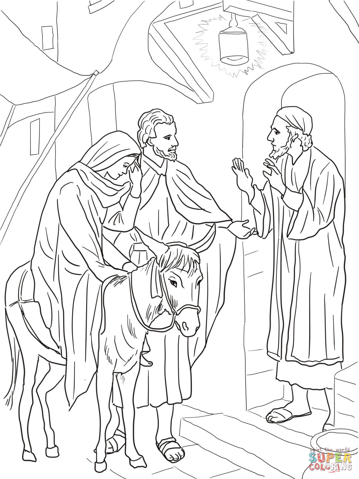 Joseph Coloring Pages Pdf : No room at the inn for mary and joseph coloring page
