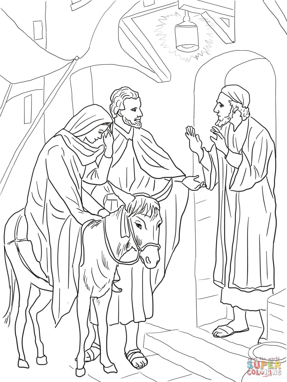 Happy Saints: Journey to Bethlehem Coloring Page | 1600x1200