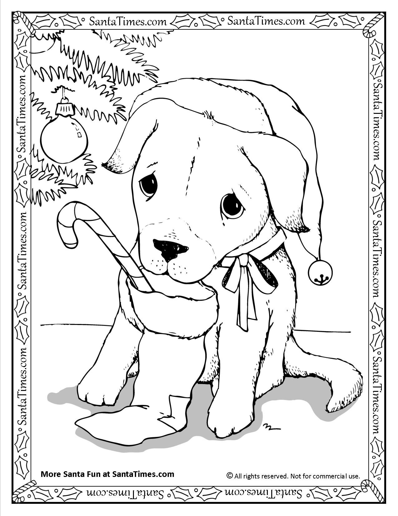 coloring pages dogs christmas - photo#14