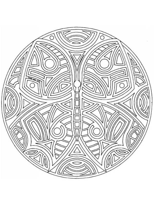 Tribal Butterfly Mandala Coloring Pages | Batch Coloring
