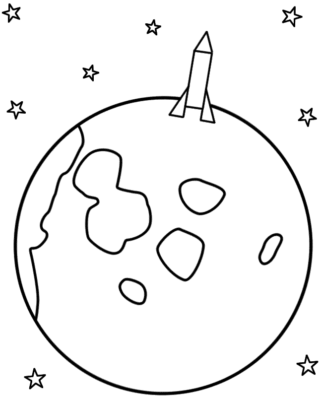 rocket landing on the moon coloring page
