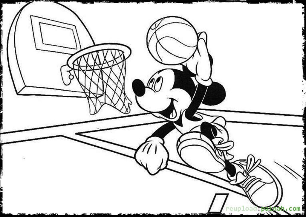 - Basketball Coloring Pages Mickey Mouse Jump Shoot - Colorine.net -  Coloring Home