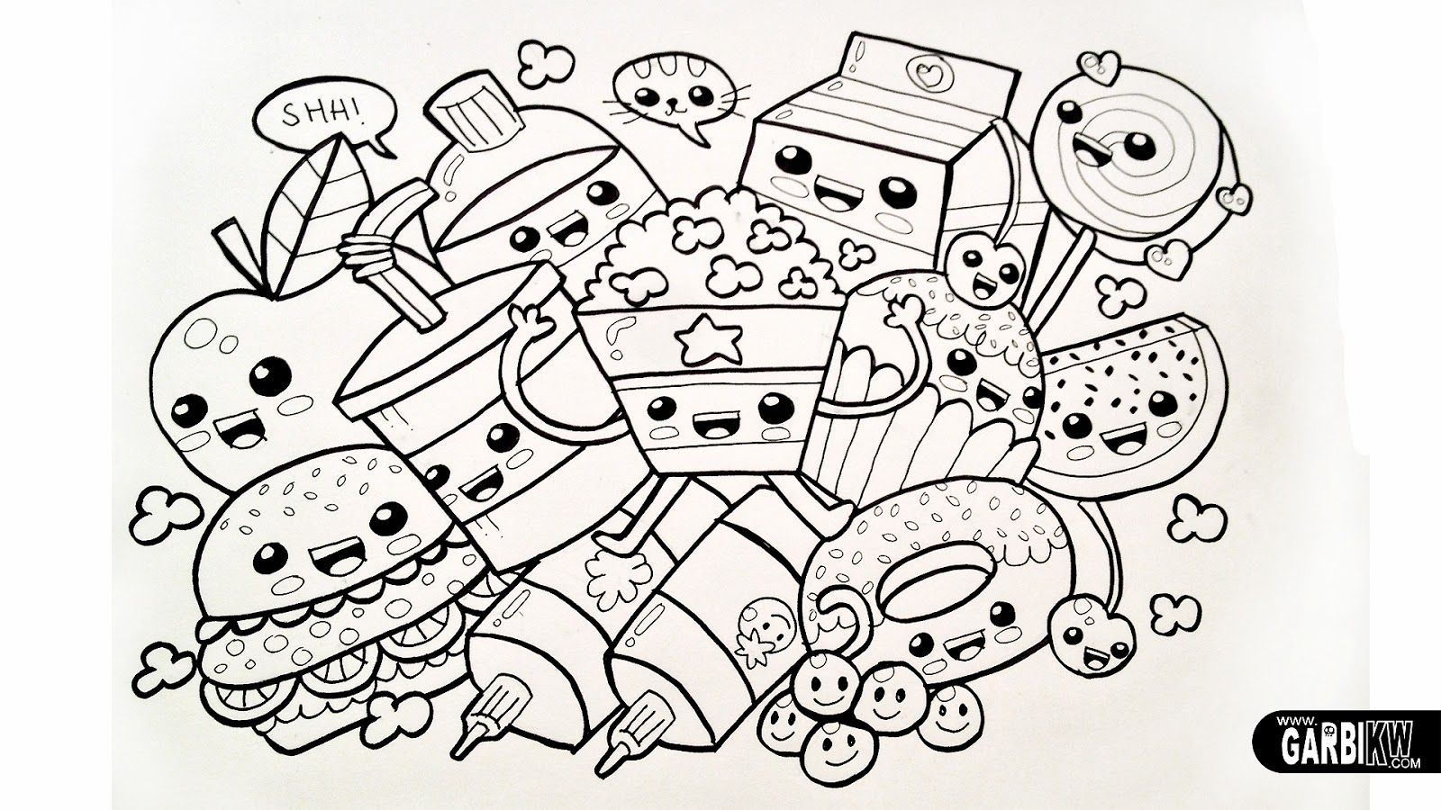Kawaii Food Coloring Pages Coloring