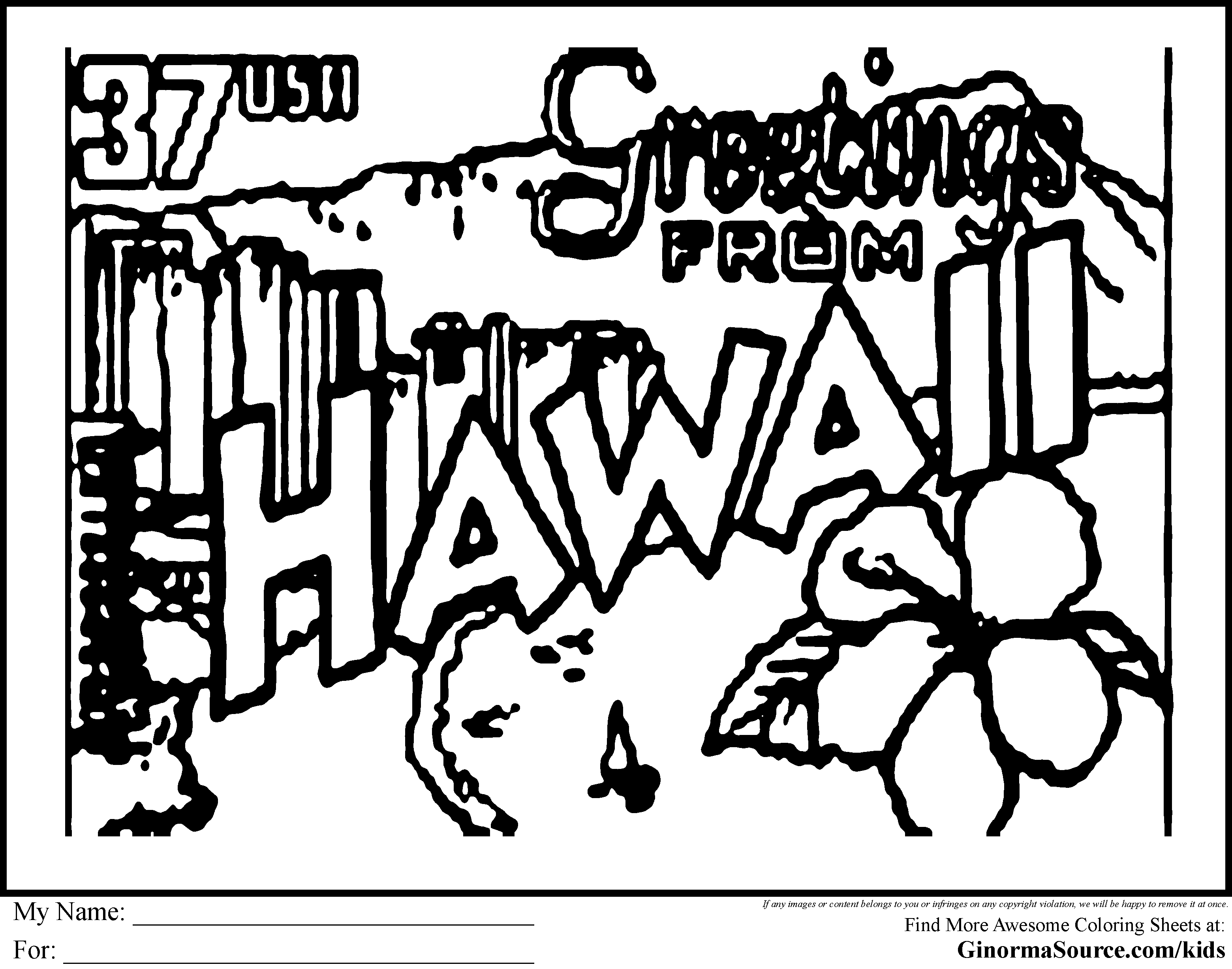 Of Hawaii Coloring Pages For Kids And For Adults Coloring Home