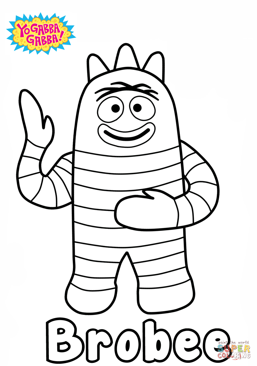 Yo Gabba Gabba Brobee Coloring Page Free Printable Coloring Pages