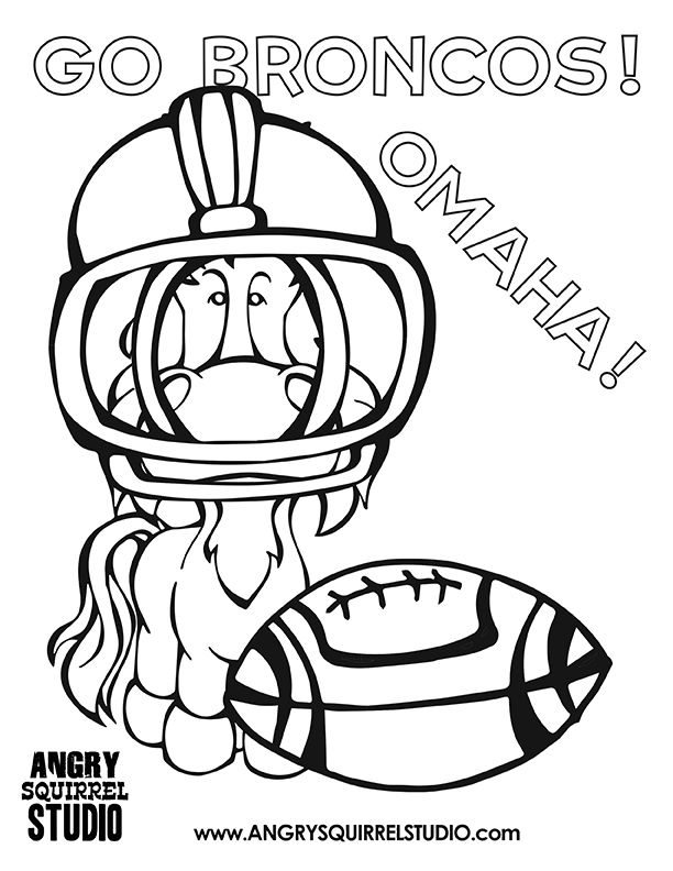 Free Coloring Pages: Broncos Football | Angry Squirrel Studio