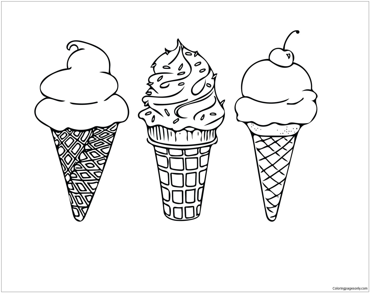 Ice Cream 4 Coloring Page - Free Coloring Pages Online