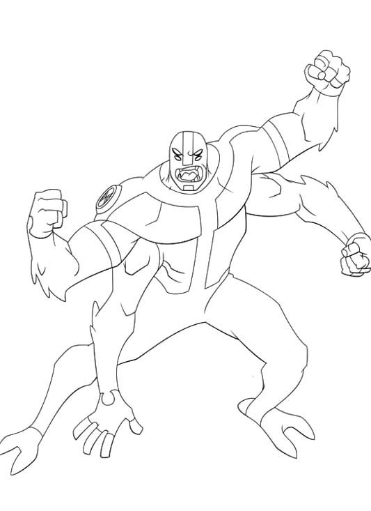 Ben 10 Transforms Into A Strong Coloring Pages | Ben 10, Cartoon coloring  pages, Coloring books