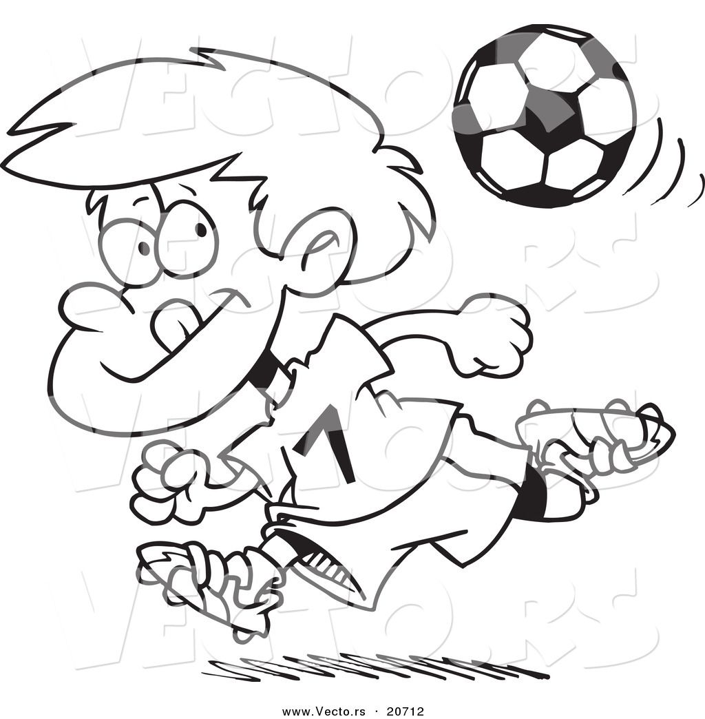 Vector of a Cartoon Running Soccer Boy - Coloring Page Outline by ...