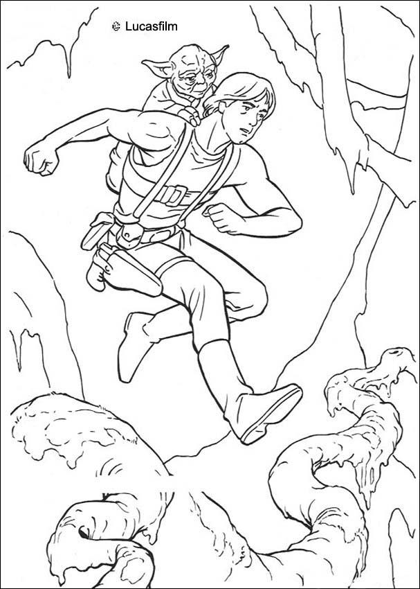 STAR WARS Coloring Pages Luke Training With Yoda Coloring Home