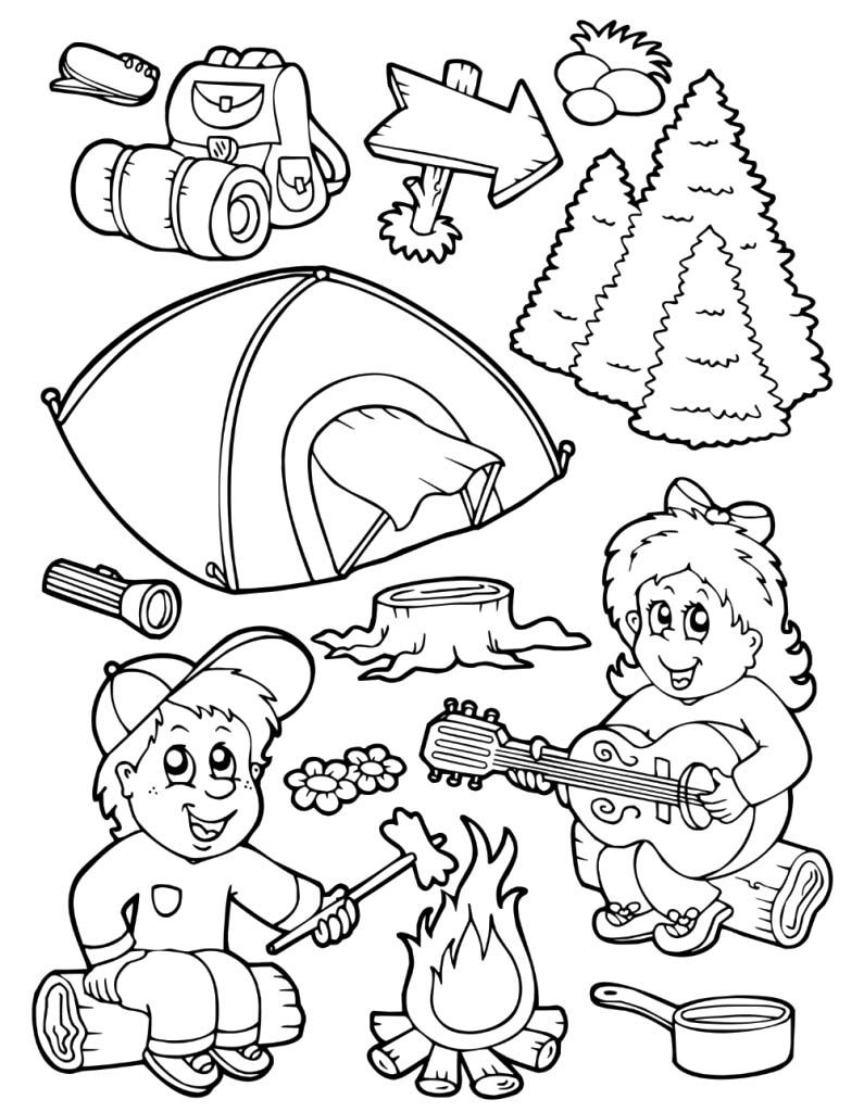 Free printable camping coloring pages coloring home for Camping coloring pages for preschoolers