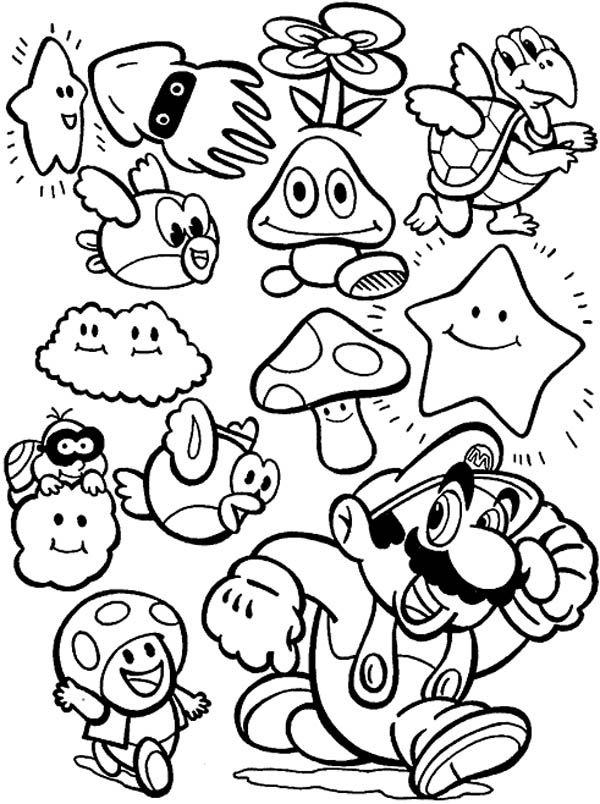 Mario Character Coloring Pages - Coloring Home