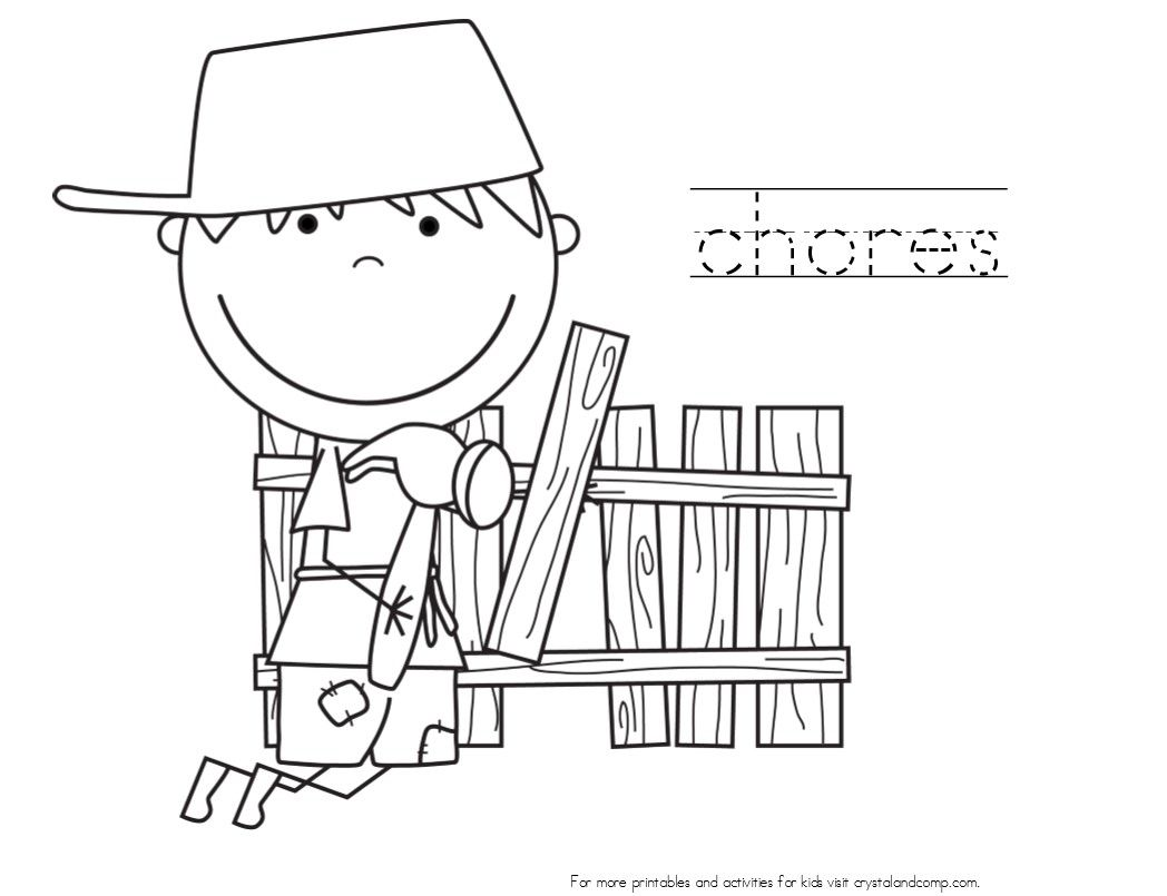 Children doing household chores free coloring pages | Coloring Pages | 805x1048