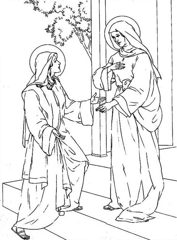 The visitation coloring page coloring home for Mary visits elizabeth coloring page
