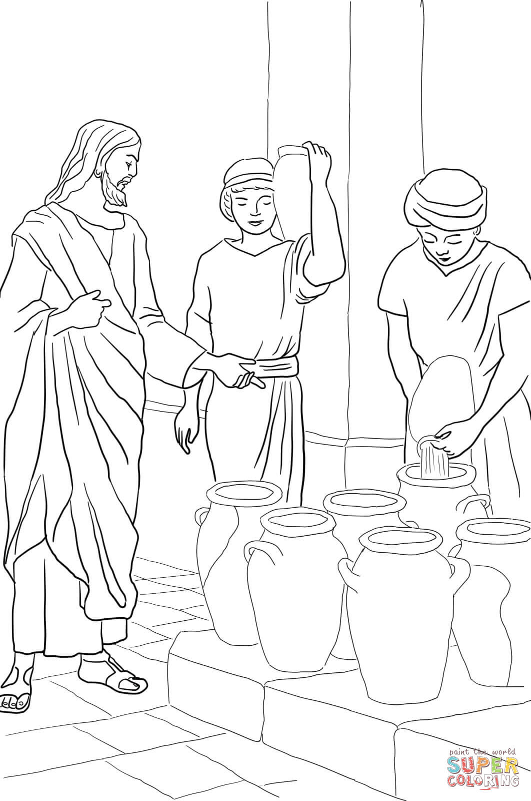 jesus turns water into wine coloring page - Turn A Photo A Coloring Page
