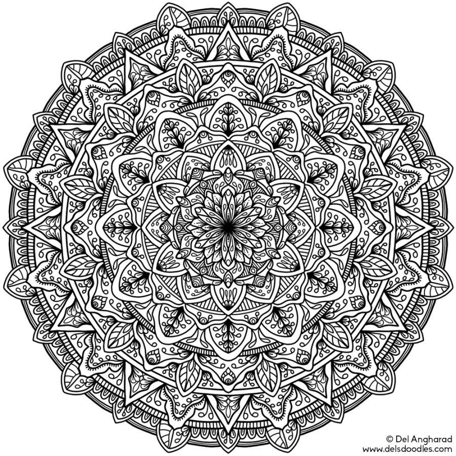 difficult mandala coloring pages - photo#34