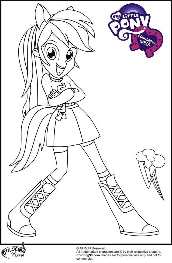 My Little Pony Coloring Pages Rainbow Dash Human Http East