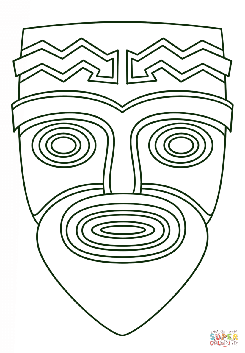 Tiki Face Coloring Page Www Imgkid Com The Image Kid Tiki Mask Coloring Pages