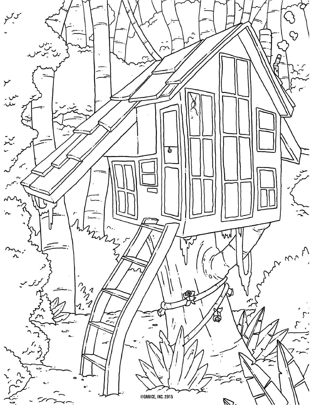 Free Tree House Coloring Pages