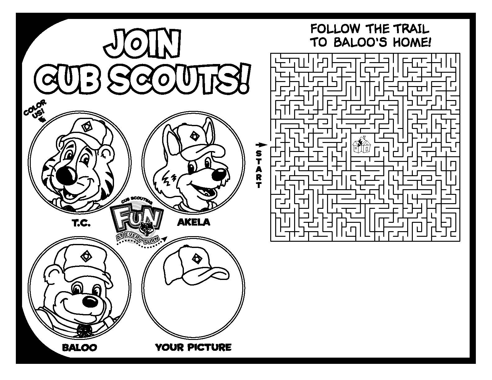 graphic regarding Cub Scout Printable known as Printable Coloring Sport Webpages Cub Scout Pack 16