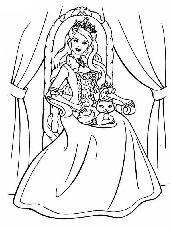 Princess Cat Coloring Page - Coloring Home