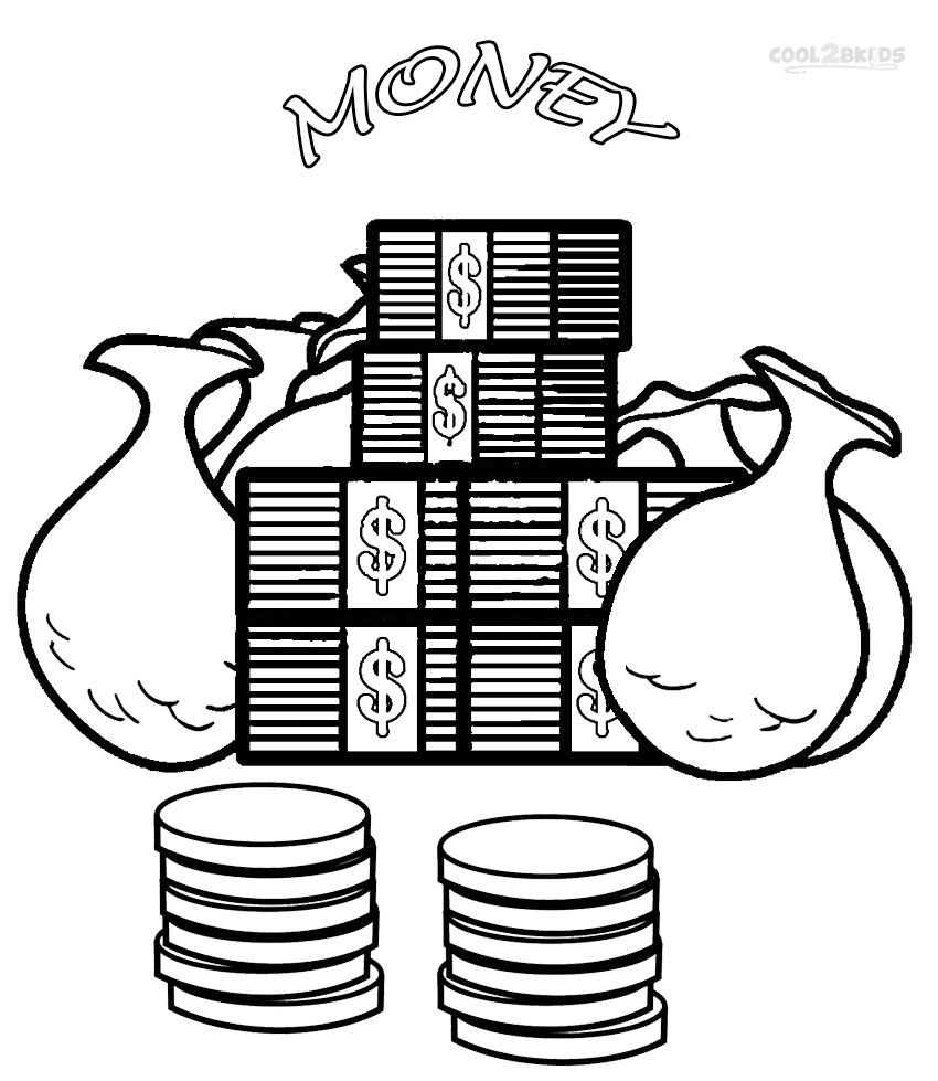 Saving Money Coloring Sheets Money Coloring Pages Kids Coloring
