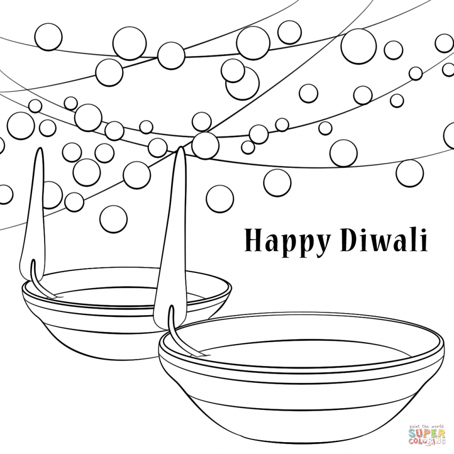 Diwali Lamp Coloring Pages Happy Diwali Coloring Pages. Kids ...