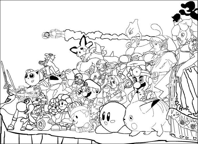 Wii U Coloring Pages : Super Smash Bros Coloring Pages Coloring Home