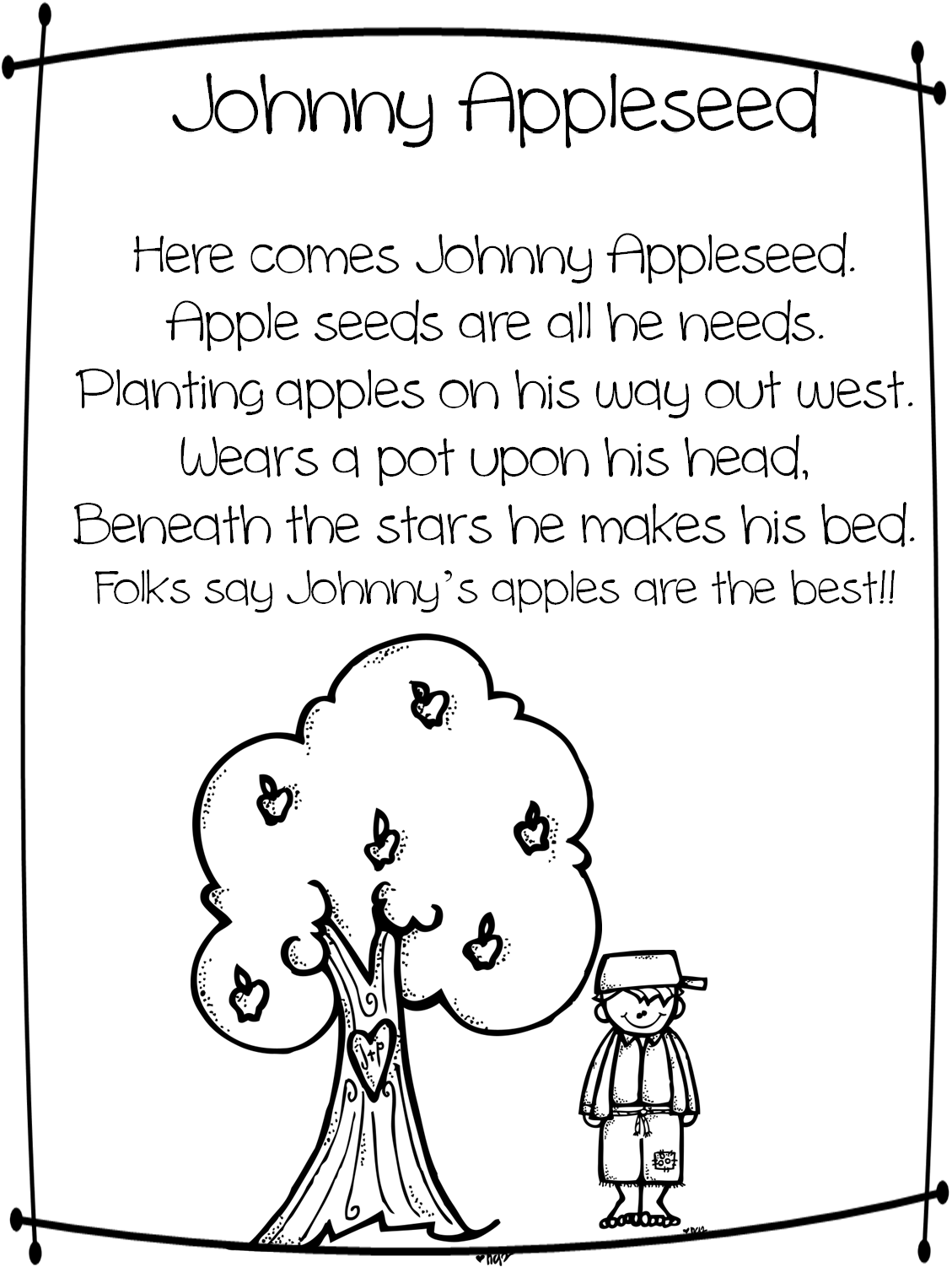 Apple Themed Coloring Pages : Free printable johnny appleseed coloring pages home