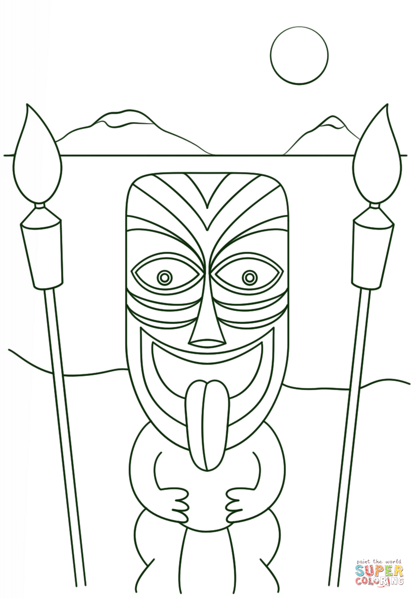 Tiki Man With Torches Coloring Page Free Printable Coloring